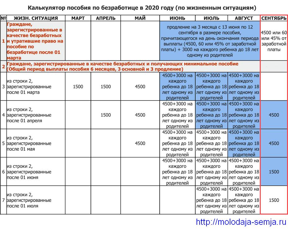 Калькулятор пособия по безработице в 2020 году (по жизненным ситуациям)