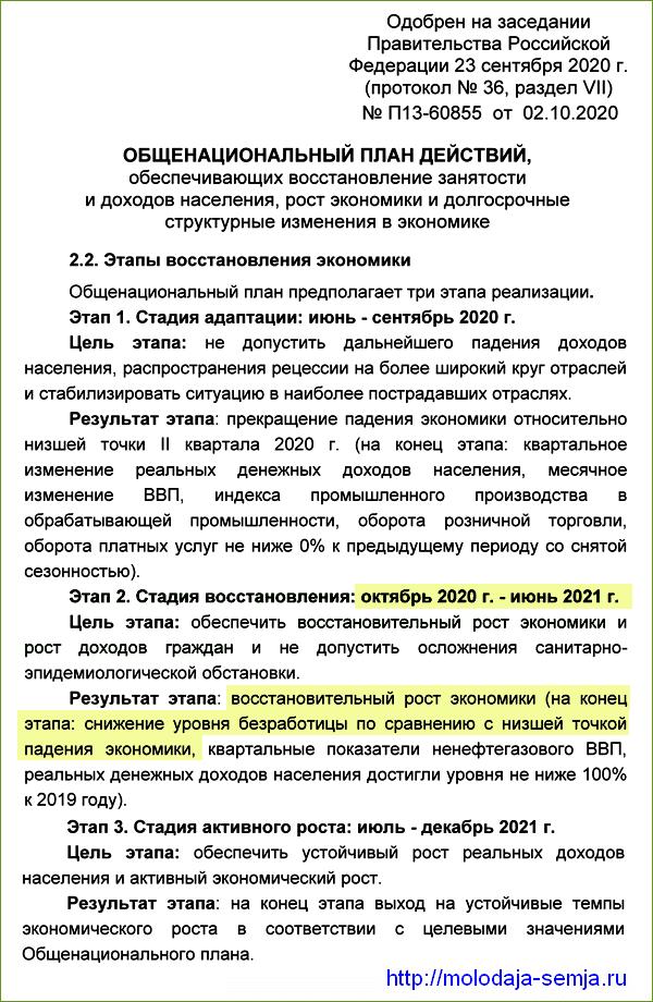 Антикризисный план Правительства РФ на 2020-2021 годы